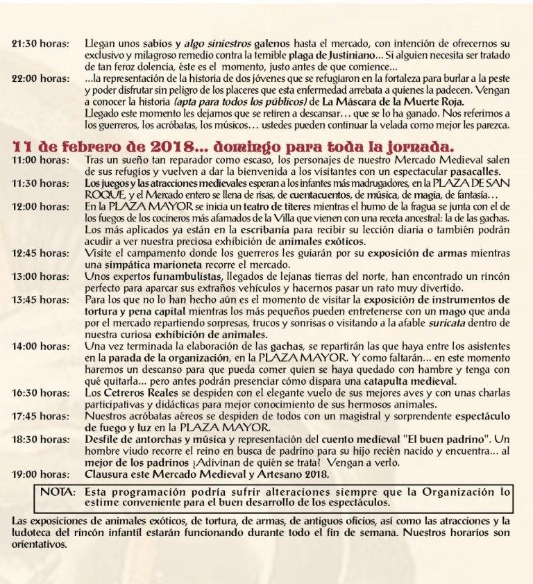 Programa Mercado Medieval Artesano Chinchón 2018
